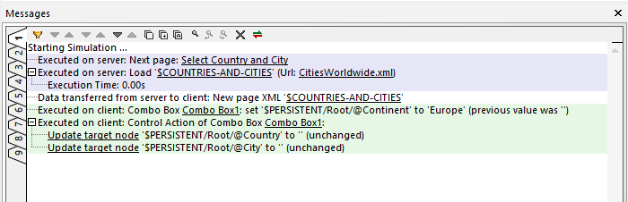 The Messages window reports selection of a continent from the Combo Box