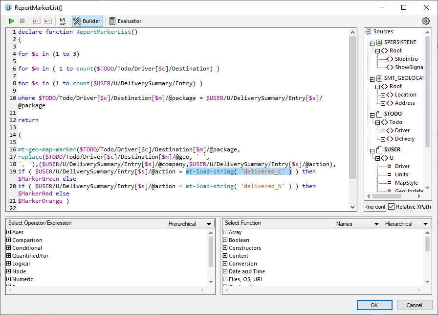 Correct syntax of user functions in mobile apps to work in all languages