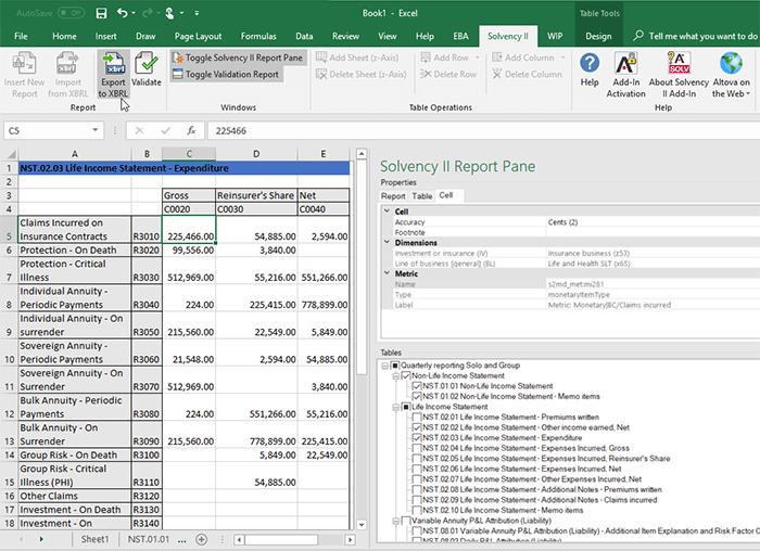 Altova Solvency II XBRL add-in for Excel