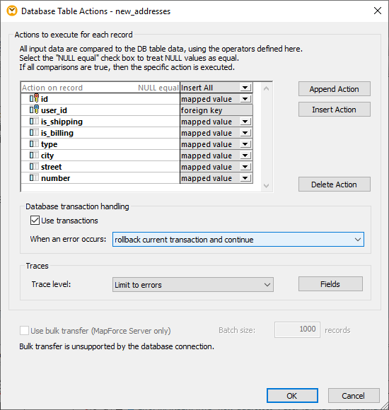 Transaction settings for next database exceptions handling example