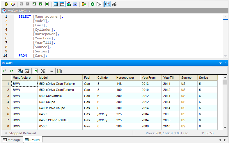 Contents of the DB table for data mapping JSON Lines