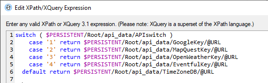 Text selection via an XQuery expression in MobileTogether