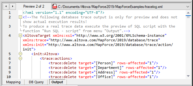 Database trace log file preview