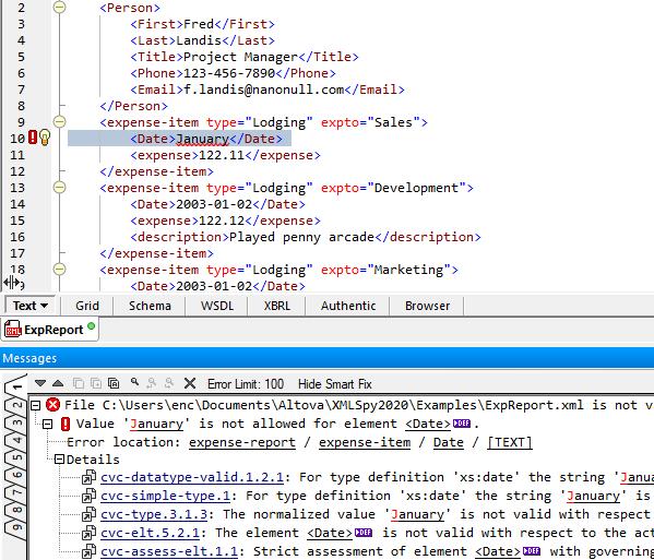 Validate XML on edit