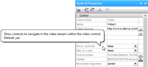 Video control properties in MobileTogether