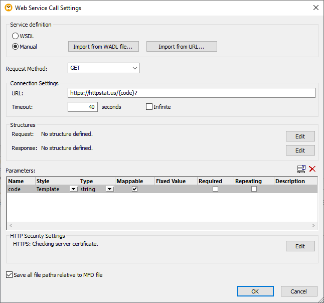 Configuration of the Web service call settings