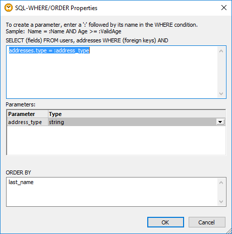 SQL-where/order properties to join data
