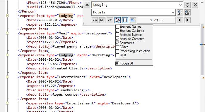 Find/replace in the XML editor