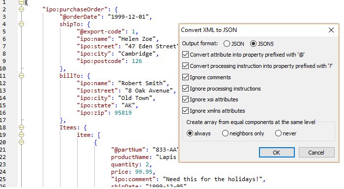 XML converted to JSON5