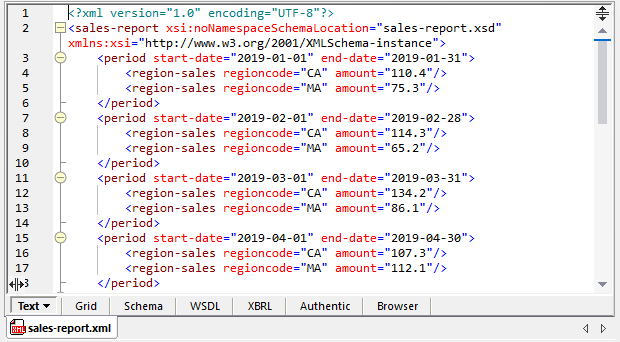 An XML source file for mapping to an Excel target file