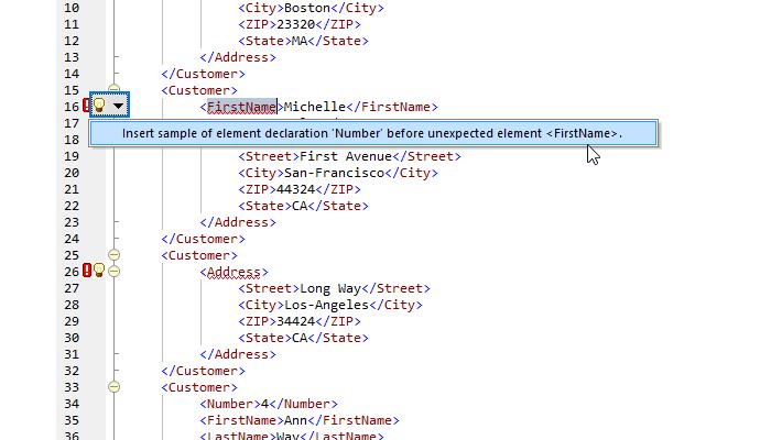 XML validation info in the margin