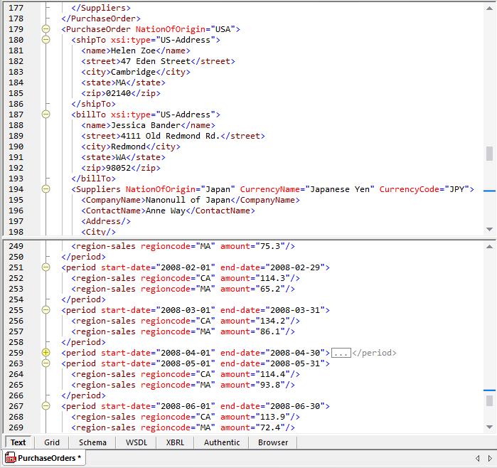 Split-screen xml editing view in XMLSpy