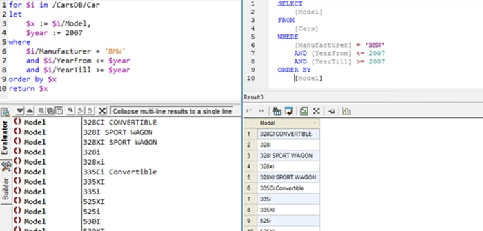 xquery and sql comparison