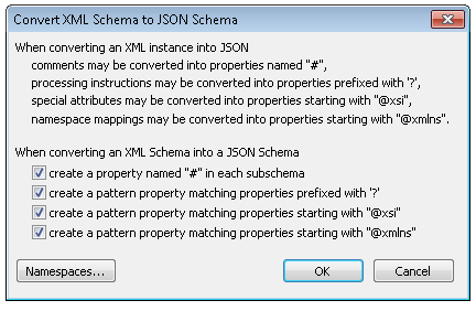 Options for converting XSD to JSON Schema