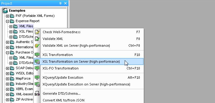 Running XSLT on RaptorXML