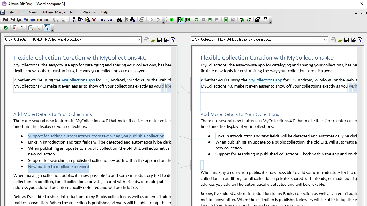 Compare two Word documents side-by-side in DiffDog