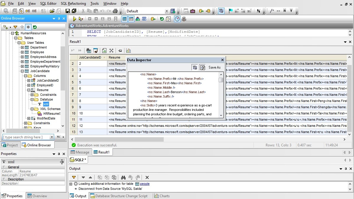 DatabaseSpy Supports XML in Databases