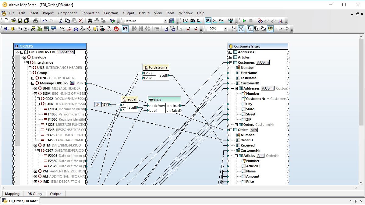 MapForce EDI to  Database Mapping