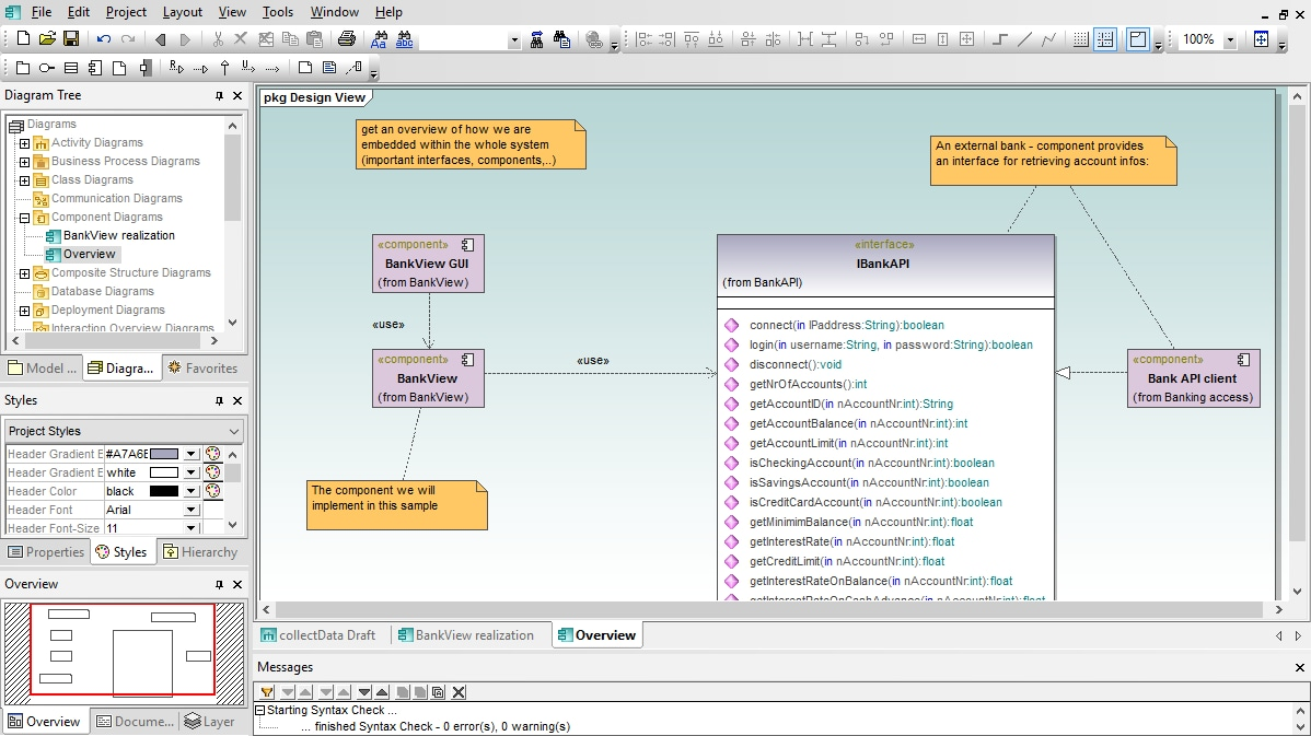 UML Component Diagram in Altova UModel