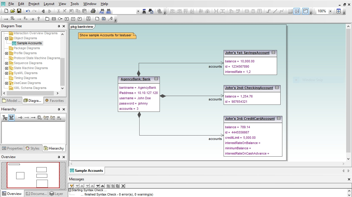 UML Object Diagram in Altova UModel