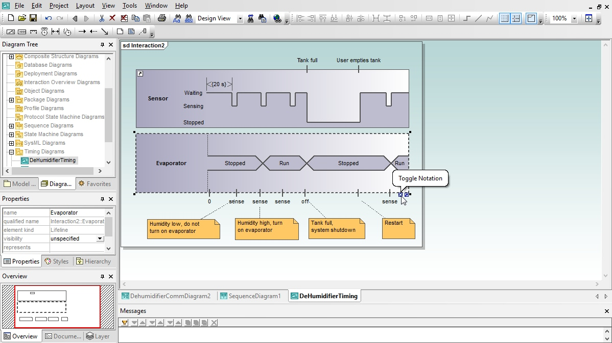 UML Timing Diagram in Altova UModel