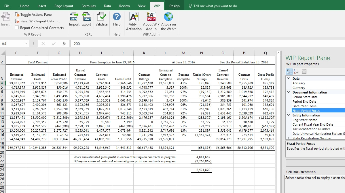 Build WIP XBRL Reports Directly In Excel