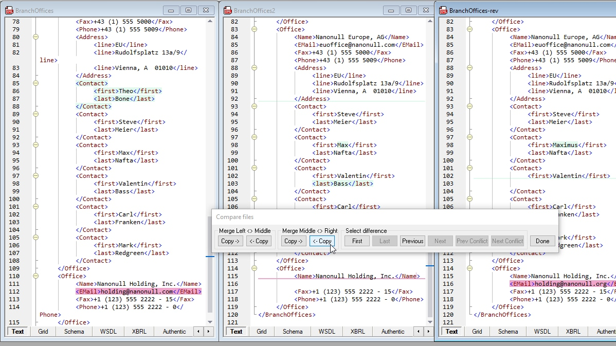Compare XML with 3-way diff merge directly in the XML editor