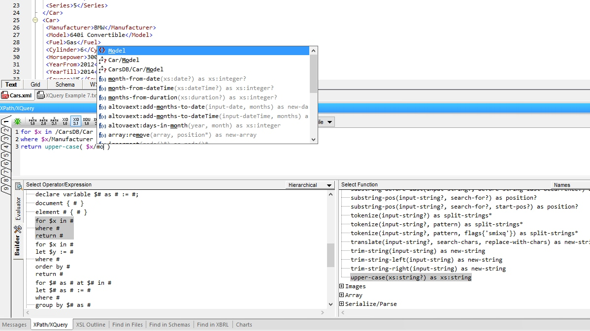 XMLSpy Point-and-click XQuery Expression Builder