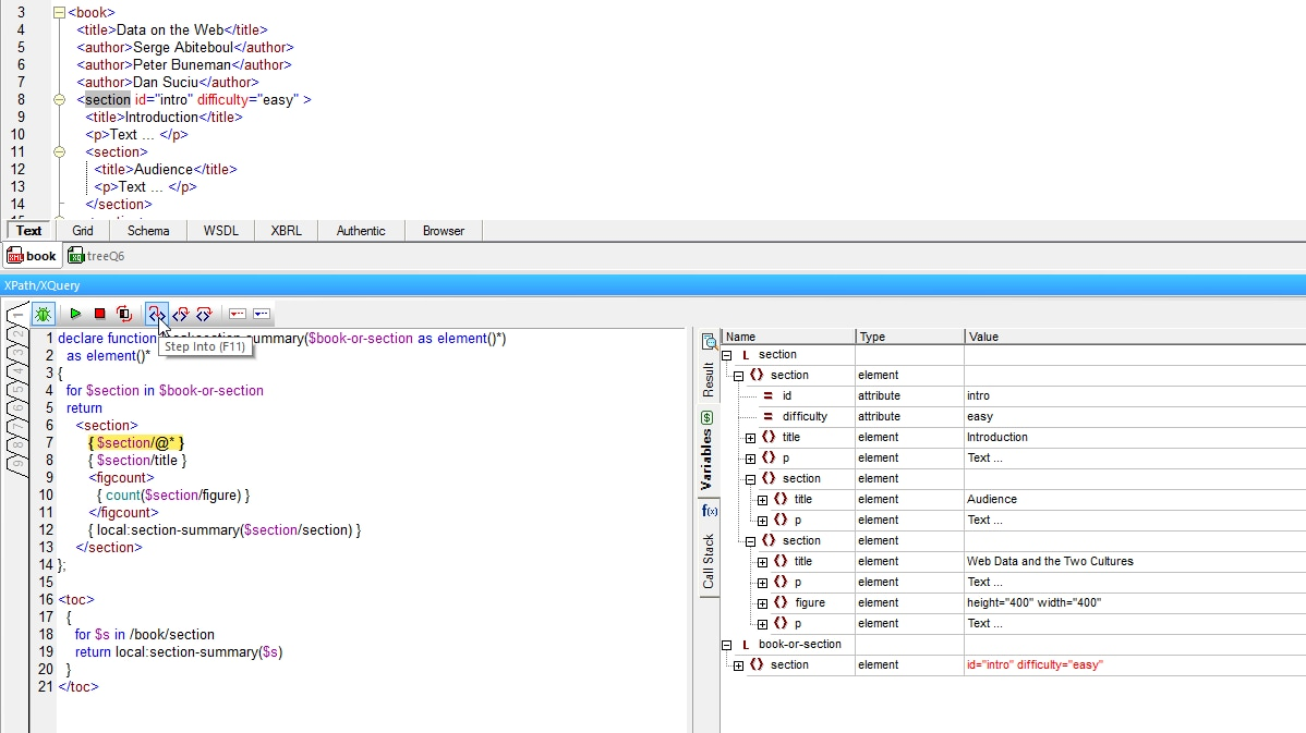 The XPath and XQuery debugger in XMLSpy help you perfect your code