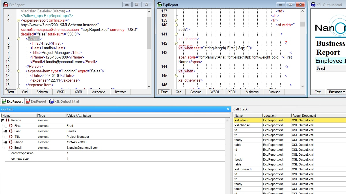The XSLT debugger in the XML editor helps you track down XSLT errors
