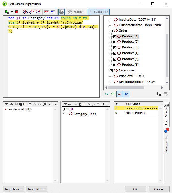 New XPath dialog and debugger in StyleVision