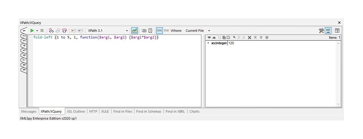 Example of fold left function in XQuery and XPath